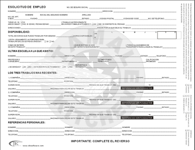 Job Application In Spanish Printable Job Application